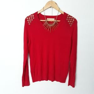 Michael Kors red studded shoulders sweater